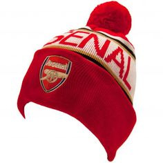 9f3f5c5fd10 Adult s knitted Arsenal FC ski hat in club colours and featuring an  embroidered club crest with