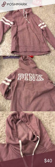 vs pink purple/gray 2 textured sweatshirt. sweatshirt with hoodie. purple / gray. PINK Victoria's Secret Tops Sweatshirts & Hoodies