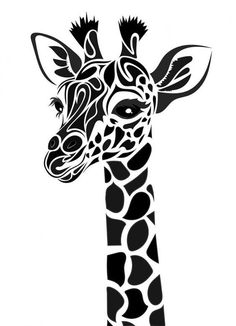 T shirt stencil.Tribal Giraffe by Dessins-Fantastiques on DeviantArt Stencil Patterns, Stencil Art, Animal Stencil, Drawing Stencils, Stencil Printing, Silhouette Cameo Projects, Silhouette Design, Giraffe Silhouette, Silhouette Files