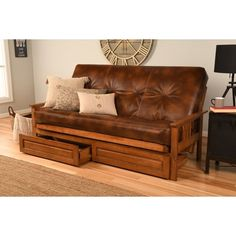 Shop Porch & Den Zumbro Full-size Futon Frame with Bonded Leather Innerspring Mattress - On Sale - Overstock - 8366443 - Honey Oak/Java with drawer Mattress Frame, Futon Frame, Futon Mattress, Mattress Covers, Full Size Futon, Full Size Mattress, Futon Sets, Mattress Dimensions, Furniture Deals