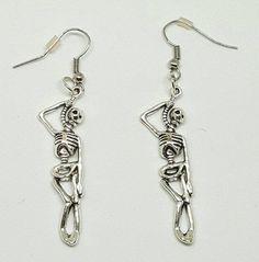 Hanging Skeleton Earrings by BlindedEyeDesigns on Etsy