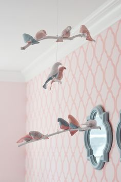 Bird mobile + patterned wall love this? Bird Nursery, Nursery Room, Nursery Decor, Bedroom, Deco Kids, Bird Mobile, Fabric Birds, Nursery Inspiration, Wall Patterns