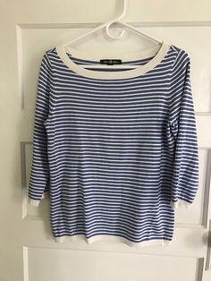 be859398616300 brooks brothers 3/4 sleeve sweater womens medium blue/white stripe boatneck  #fashion