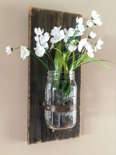 Mason Jar Wood Wall Sconce/Rustic Brown by BCIndustrialTreasure