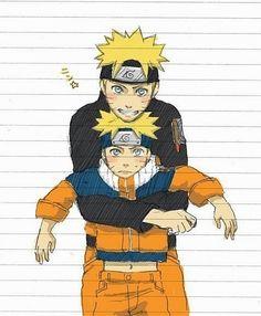 Naruto Uzumaki (Teenager) and Naruto Uzumaki (Kid) Anime Naruto, Naruto Kakashi, Naruto Cute, Hinata, Manga Anime, Naruto Uzumaki Art, Otaku Anime, Sasunaru, Narusaku