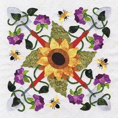 Sunflower Wreath by Pearl Pereira, in:  Baltimore Spring quilt at P3 Designs