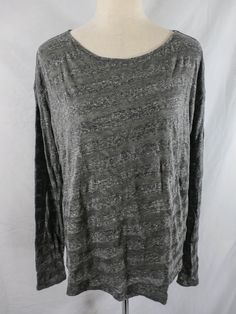 NWT THEORY Sz S GRAY STRIPED CRINKLE COTTON BLEND BOXY TOP MADE IN JAPAN #Theory #knittop #Casual