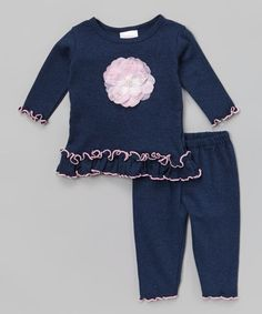 Look what I found on #zulily! Denim Flower Tunic & Pants - Infant by Too Sweet #zulilyfinds