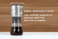 """Easily brew ridiculously good coffee at home. A dual chamber """"twist"""" on a traditional French press. Big bold taste, no gunk."""