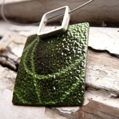 Enamel Necklace, Green and black enamels , Sterling silver and copper, Square, Stencil Necklace