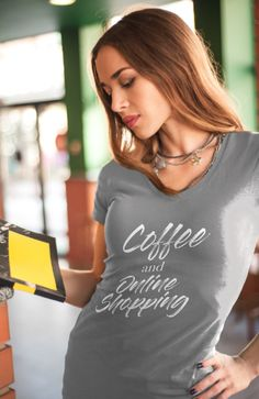 eb49aeb694 Coffee and Online Shopping T-shirt - Women s short sleeve t-shirt