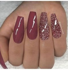 REPOST - - - - Marsala red and glitter on long coffin nails - - - - Image and . REPOST – – – – Marsala red and glitter on long coffin nails – – – – Image and … Coffin Nails Long, Long Nails, Short Nails, Cute Acrylic Nails, Cute Nails, Acrylic Nails Autumn, Acrylic Nails For Summer Coffin, Burgundy Acrylic Nails, Ombre Burgundy