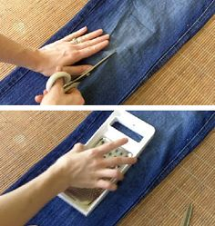 How to put holes in your jeans...where was this in the 80's when I needed to know?  And wouldn't mom have killed me if she found me attacking my jeans with her cheese grater? ;)