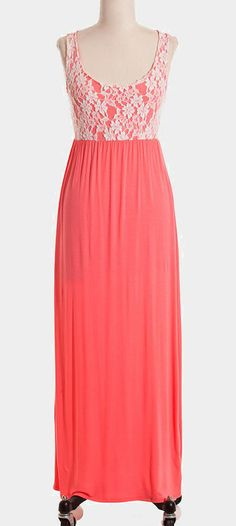 Coral & White Lace Maxi Dress --great summer dress! I seriously want one!!-aw--