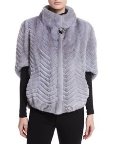 Chevron-Knit+Fur+Jacket,+Sapphire+by+Gorski+at+Neiman+Marcus.