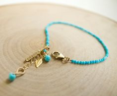 Dainty Turquoise Charm Bracelet with Leaf Charm and by BareandMe