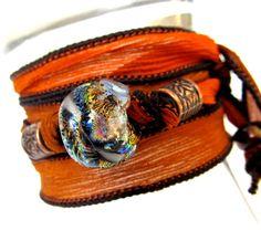 Beaded Silk Ribbon Wrap Bracelet - Lampwork Dichroic Glass Jewelry - Very Boho - Handmade in US Eco Friendly