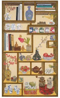 이정은, 책가도에 담긴 이야기(계절), 145×85(cm), 장지에 채색, 2014 | cafe.naver Geisha Kunst, Geisha Art, Chinese Christmas, Korean Painting, Japanese Drawings, Ap Studio Art, Korean Art, Japan Art, Beautiful Drawings