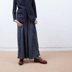 NO CONTROL AIR / Cupro wool denim WIDE pants