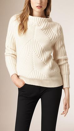Natural white Ribbed Wool and Cashmere Sweater - Image 1