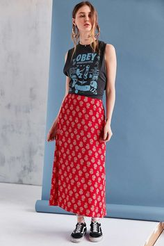 BOG Collective Printed Flute Hem Midi Skirt - Urban Outfitters