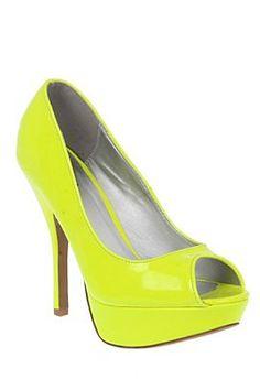 Qupid Onyx Neon Yellow Peep Toe Pump from Hot Topic!