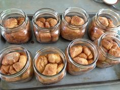 Monkey Bread in a jar:  (Great for care packages!)  Spray jar liberally with Pam.  Use 2 tubes of Grands biscuits. Cut each biscuit in 1/4....roll into balls.  Roll balls in a cinnamon and sugar mixture. (Approx. 1/2 c. sugar mixed with 1 t. sugar) Divide balls evenly into 8 -16 oz. wide mouth Ball Jars.  Bake at 350 degrees for 28-32 minutes.  Let cool, top with lid, tie a plastic fork to it with a ribbon! Keeps well for several days.