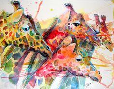 Totally lovely colours. Giraffe African Decor 16x22  Fine Art Giclee Canvas by jenartwork.