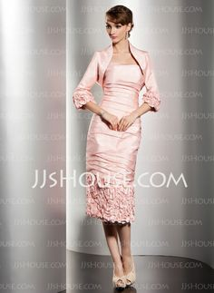 Mother of the Bride Dresses - $129.99 - Sheath Strapless Tea-Length Taffeta Mother of the Bride Dresses With Ruffle (008014495) http://jjshouse.com/Sheath-Strapless-Tea-length-Taffeta-Mother-Of-The-Bride-Dresses-With-Ruffle-008014495-g14495