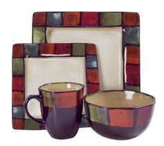 With an ivory interior and a colorful border of mosaic squares, these American Atelier dinnerware pieces will set your dinner table aglow with color. These Hopscotch plates, bowls and mugs offer service for four in a 16-piece set of earthenware.