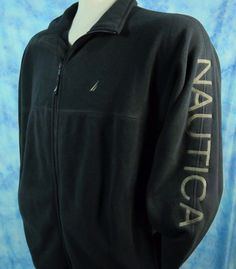 Nautica Mens XXL Gray Colorblocked Spellout Full Zip Fleece Embroidered Jacket  #Nautica #FleeceJacket