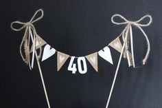 Rustic or birthday cake topper, cake banner / cake bunting with hessian flags and ivory hearts Rustic birthday cake topper cake banner / cake by SoLuvli Rustic Birthday Cake, 21st Birthday Cake Toppers, 40th Cake, 40th Birthday Cakes, 40th Birthday Parties, Birthday Bunting, Happy Birthday, Cake Bunting, Cake Banner