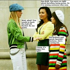 Brittana/ Pezberry Guy Friend Quotes, Guy Friends, Glee Memes, Glee Quotes, Brittany And Santana, Naya Rivera Glee, Heather Morris, Finn Hudson, Cute Lesbian Couples