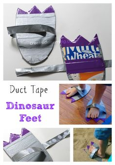 Make your own dinosaur feet with a cereal box and duct tape.