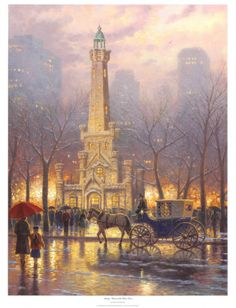 Thomas Kinkade Chicago, Winter at The Water Tower print for sale. Shop for Thomas Kinkade Chicago, Winter at The Water Tower painting and frame at discount price, ships in 24 hours. Chicago Water Tower, Thomas Kinkade Art, Kinkade Paintings, Oil Paintings, Angel Paintings, Thomas Kincaid, Chicago Winter, Chicago Fire, Chicago Illinois