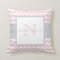 Unique Monogram Grey Pink Chevron Baby Girl Pillow - Pretty and sparkly grey/gray/silver baby girl pillow with pink and white chevron pattern. Add baby's name and monogram. Unique baby item and gift! Perfect for nursery. Chevron Patterns, Monogram Gifts, Monogram Pillows, Personalized Gifts, Custom Pillows, Decorative Pillows, Unique Baby, New Baby Gifts, Decoration