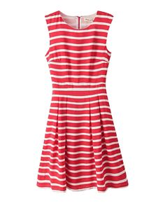 Sleeveless Red-striped Pleated Dress