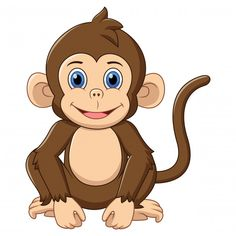 Discover thousands of Premium vectors available in AI and EPS formats Cartoon Cartoon, Cartoon Monkey, Monkey Drawing, Baby Drawing, Pencil Drawings Of Flowers, Animal Drawings, Happy Animals, Cute Animals, Monkey Nursery