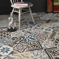 Set of 12 Real Encaustic Cement Tiles, Patchwork Multicolour