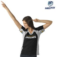 Show off your Jacksonville Jaguars allegiance every time your guys score with this Jacksonville Jaguars Hands High V-Neck. It features a unique design with quality Jacksonville Jaguars graphics at the chest and underarms that any real fan would love!