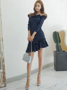 f1e784d0edcd Denim Falbala Women's Bodycon Dress Knee Sleeves, Cheap Dresses, Day Dresses,  Ruffle Dress