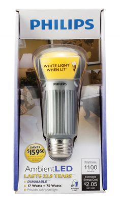 Philips AmbientLED (TM) Dimmable 75W Replacement A21 LED Light Bulb - Soft Warm White $44.95 Led Bathroom Lights, Led Vanity Lights, Light Fixtures Bathroom Vanity, Recessed Ceiling Lights, Kitchen Ceiling Lights, Led Wall Lights, Led Pendant Lights, Ceiling Lighting, Led Chandelier