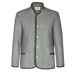 Icy weather doesn't have a patch om an authentic wool jacket. Sweater Jacket, Suit Jacket, Boiled Wool Jacket, Brown Trim, Wool Fabric, Wool Sweaters, Green And Grey, Wool Felt, Custom Made