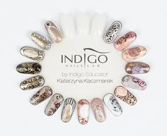 Nails Art from Katarzyna Kaczmarek Indigo Educator - Sn Studio Indigo Poznań Nails & Co, Gold Nails, Gel Nail Art, Nail Manicure, Gorgeous Nails, Perfect Nails, Vintage Nail Art, Square Oval Nails, Nail Atelier