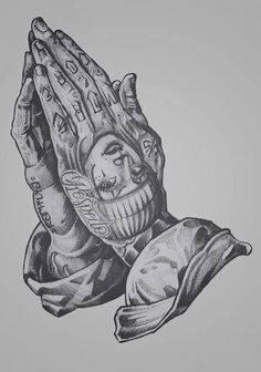 Tattooed praying hands, my next tattoo forsure Chicano Art Tattoos, Chicano Drawings, Gangster Tattoos, Body Art Tattoos, Hand Tattoos, Sleeve Tattoos, Chicano Tattoos Gangsters, Stomach Tattoos, Tattoo Design Drawings