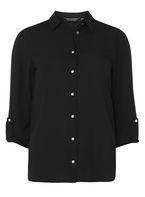 Womens Black Tab Roll Sleeve Shirt- Black