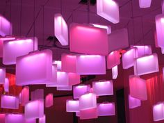 the lobby of the nordic hotel has been transformed into a arrival and departure lounge. Fushia Pink, Nordic Lights, Pink Design, Unique Lighting, Installation Art, Light Up, Hotels, Sweden, Architecture Design