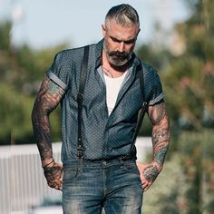 Short sleeve button up in Dotted Denim. Keep on rolling! )   Best Men's Fashion for 2017 and Gentleman's Lifestyles here! Follow @MnsFashions for great ideas!