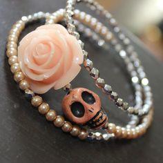 Day of the Dead Bracelet Sugar skull Memory wire bracelet Orange Blush... ($19) ❤ liked on Polyvore