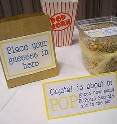 """We threw one of my friends a """"POP"""" themed baby shower - as in, she's about to POP! We tried to incorporate everything with """"pop"""", right dow. Pop Baby Showers, Baby Shower Games, Shower Party, Baby Shower Parties, Shower Time, Boy Scout Popcorn, Babyshower Games For Girls, Popcorn Theme, Baby Shower Gender Reveal"""